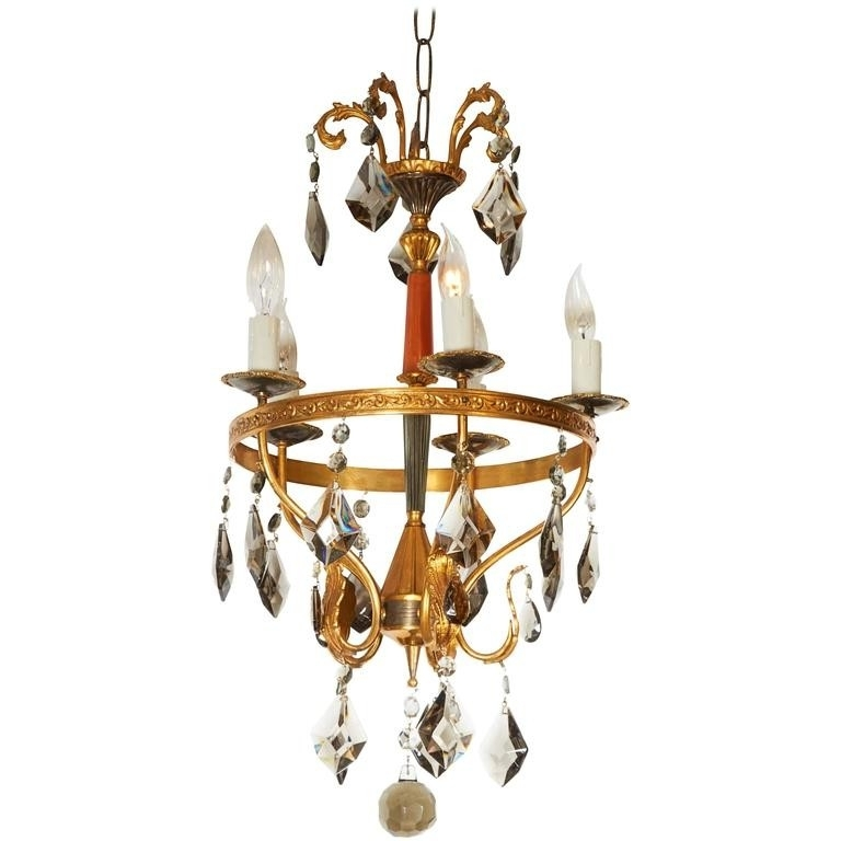 Italian Chandelier Style Pertaining To Popular Neoclassical Style Brass And Smoked Crystal Italian Chandelier (View 6 of 10)