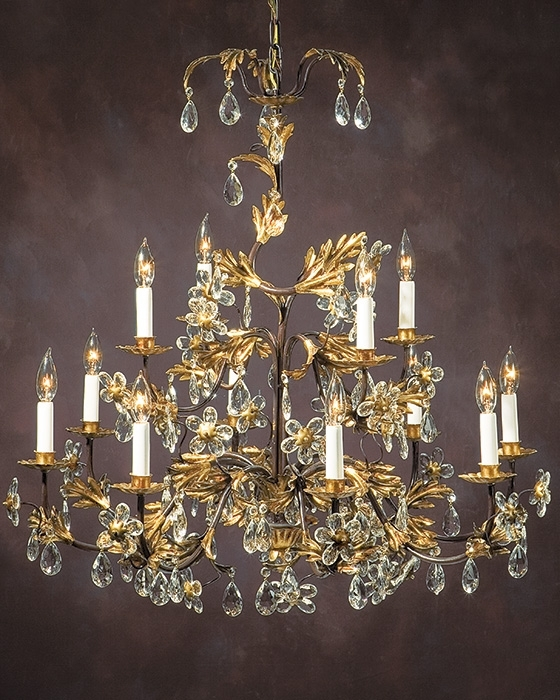 Italian Chandeliers Within Most Popular Wrought Iron Chandelier With Italian Glass Flowers (Gallery 9 of 10)