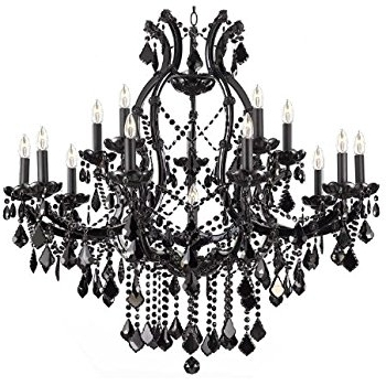Jet Black Chandelier Crystal Lighting Chandeliers 37X38 – – Amazon Throughout Fashionable Black Chandelier (View 6 of 10)