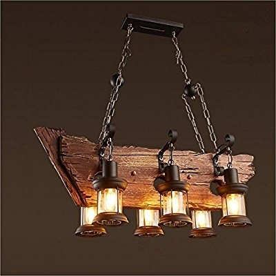 Joypeach 6 Heads Vintage Wooden Chandeliers,retro Industrial Style For Preferred Wooden Chandeliers (View 2 of 10)