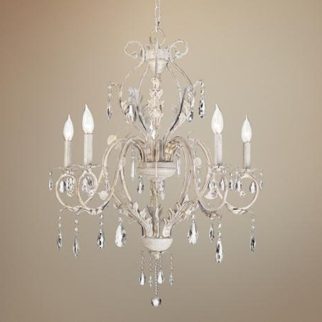 Kathy Ireland Devon 5 Light Antique White Crystal Chandelier With Regard To Most Up To Date White And Crystal Chandeliers (Gallery 2 of 10)