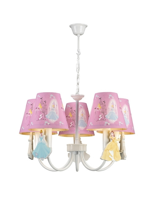 Kids Lamps 5 Lights Princess Theme Pink Chandelier Children Light In Famous Turquoise And Pink Chandeliers (View 4 of 10)