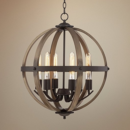 "Kimpton 6 Light 21"" Wide Dark Bronze Orb Chandelier – – Amazon In Preferred Metal Sphere Chandelier (View 4 of 10)"