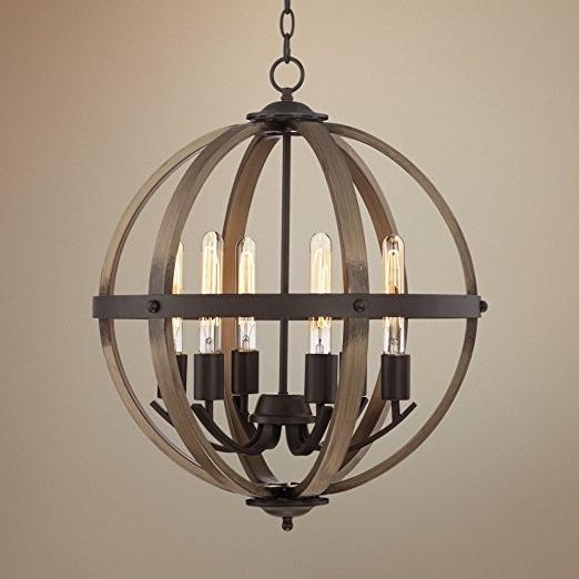 """Kimpton 6 Light 21"""" Wide Dark Bronze Orb Chandelier – – Amazon In Preferred Metal Sphere Chandelier (Gallery 9 of 10)"""