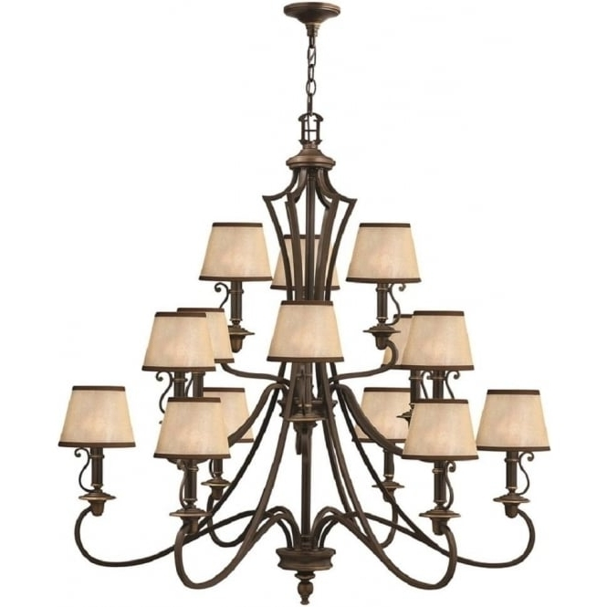 Large 15 Light Bronze Feature Chandelier For Large High Ceiling Rooms Pertaining To Latest Large Bronze Chandelier (View 2 of 10)