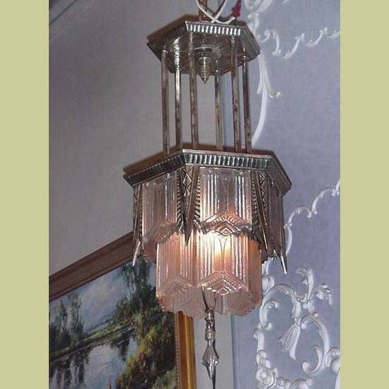 Large Art Deco Chandelier Within Latest Large Vintage Silver Plate Tiered Art Deco Chandelier With (View 4 of 10)