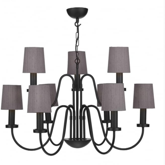 Large Black Chandelier Throughout Best And Newest Traditional 9 Light Black Chandelier With Truffle Silk Candle Shades (View 7 of 10)