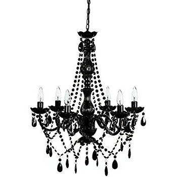Large Black Chandelier With Regard To Latest All Jet Black Chandelier Lighting Crystal, 17Wx13H, 4Lts – – Amazon (View 9 of 10)