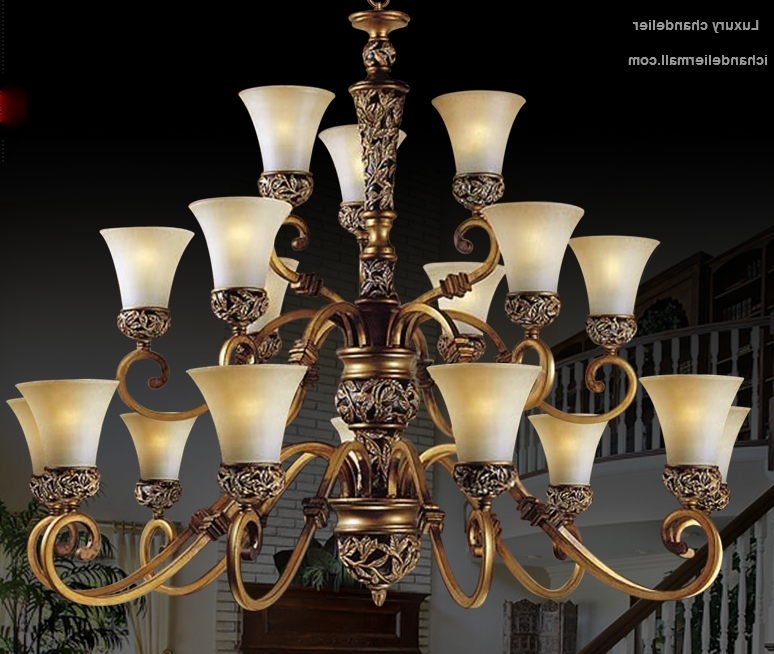 Large Brass Chandelier With Regard To Famous American Elegence Large Chandelier Lamp With Glass Shade Antique (View 7 of 10)