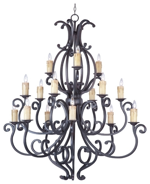 Large Bronze Chandelier Intended For Best And Newest Richmond Colonial Umber Oil Rubbed Bronze Large Foyer Chandelier To (View 4 of 10)