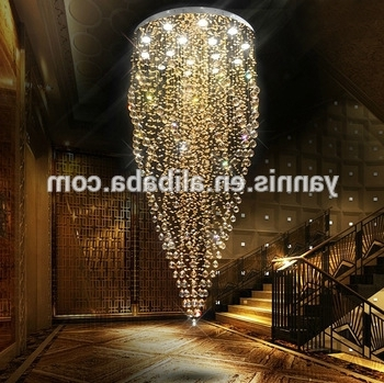 Large Contemporary Hotel Lobby Hall Ballroom Long Height K9 Crystal Inside Recent Hotel Chandelier (View 8 of 10)