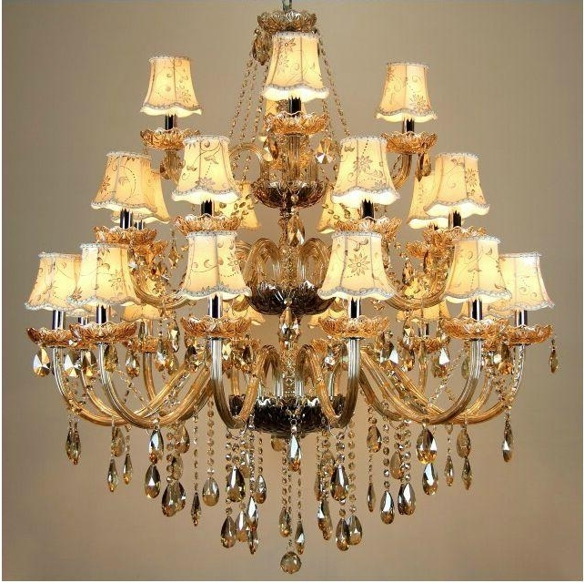 Large Crystal Chandelier 24 Arms Luxury Crystal Light Chandelier Pertaining To Newest Cream Crystal Chandelier (View 4 of 10)