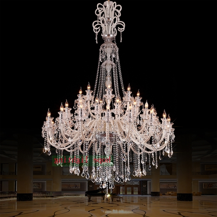 Large Crystal Chandeliers For Hotels Modern Chandelier High Ceiling Inside Well Known Large Crystal Chandeliers (View 4 of 10)