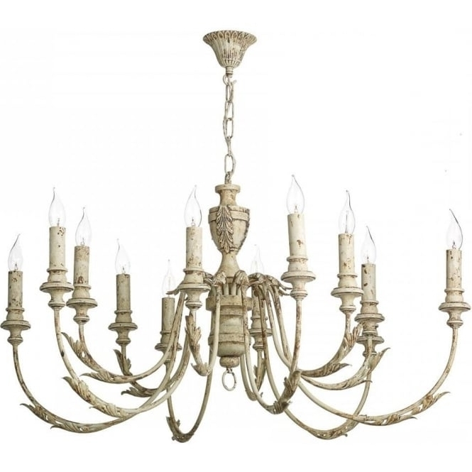Large Distressed Cream Painted Chandelier In Rustic French Styling Throughout Well Known Large Cream Chandelier (View 6 of 10)