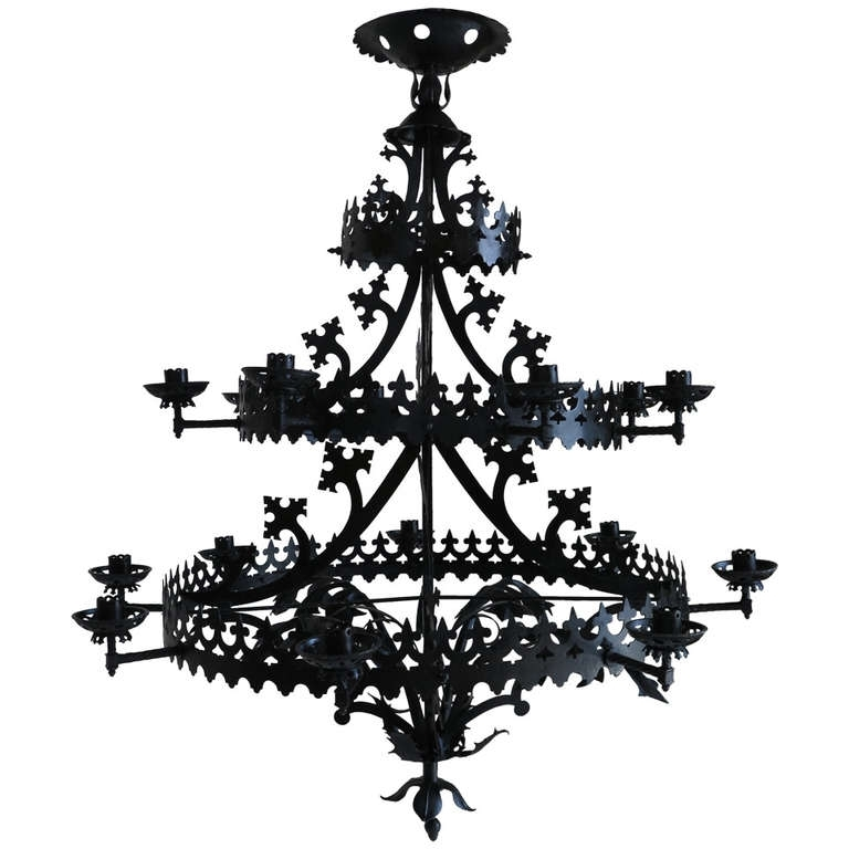 Large Gothic Revival Chandelier, France, 1940s (View 10 of 10)