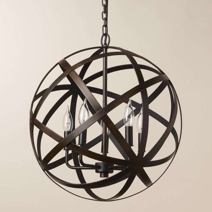 Large Metal Orb Chandelier (View 5 of 10)