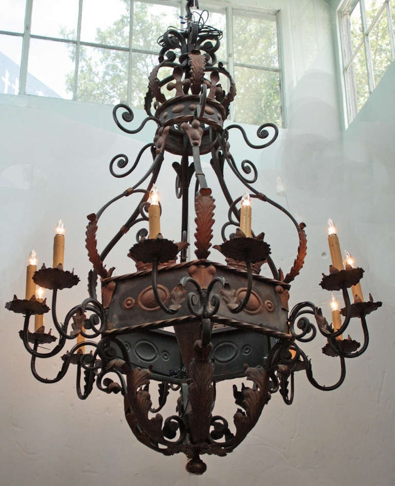 Large Wrought Iron Chandelier (View 2 of 10)