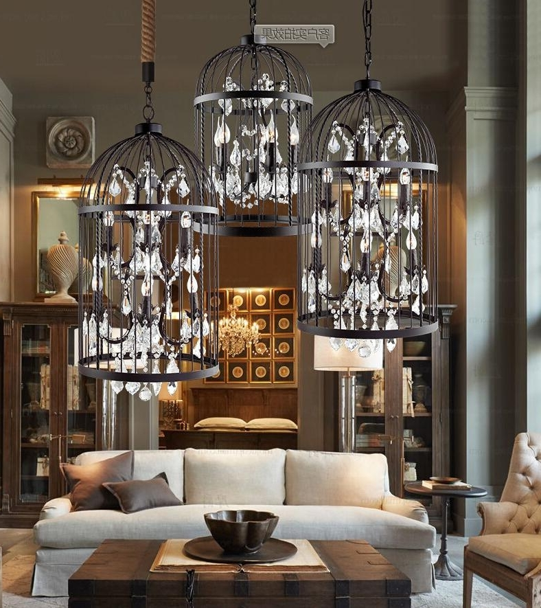 Latest American Country European Retro Iron Cage Crystal Chandelier Light For Cage Chandeliers (View 9 of 10)