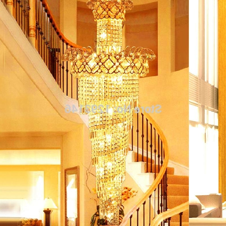 Latest Big Spiral Stairway Crystal Chandelier Led Lamps Long Gold Within Big Chandeliers (View 5 of 10)