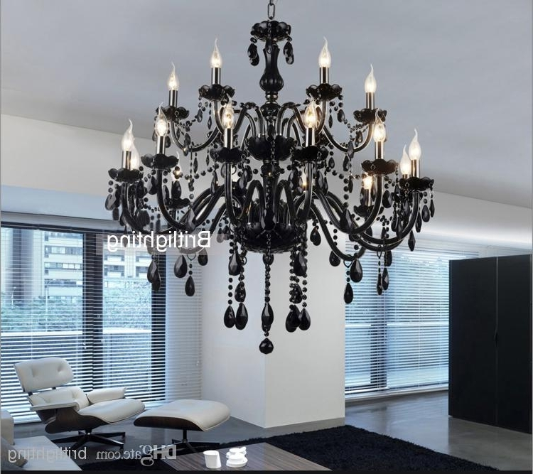 Latest Black Glass Chandeliers Throughout Black Murano Glass Crystal Chandelier Light Modern Black Chandeliers (View 6 of 10)