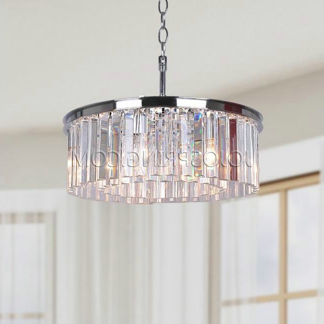 Latest Chrome And Glass Chandelier Inside Justina 5 Light Chrome Chandelier With Crystal Glass Prisms (View 10 of 10)