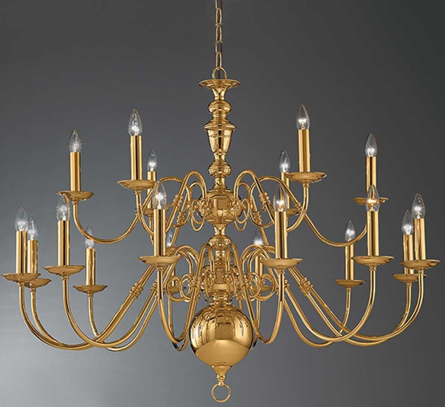 Latest Flemish Brass Chandeliers Regarding Franklite Delft Large Polished Brass 18 Light Flemish Chandelier (View 9 of 10)