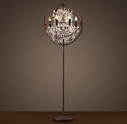 Latest Free Standing Chandelier Lamps With Standing Caged Chandelier Floor Lamp On The Hunt Antique Crystal (View 5 of 10)