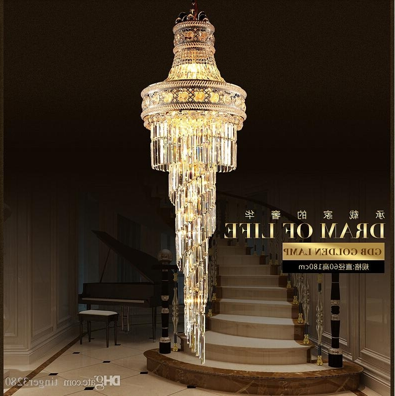 Latest Large Chandeliers Throughout 2016 Big Crystal Chandelier Led Candle Holder Lamps Modern Long (View 7 of 10)