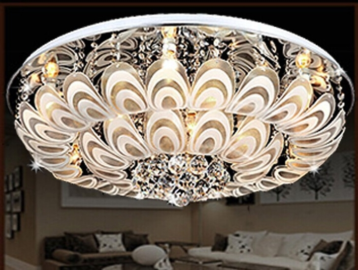 Latest Modern Chandeliers For Low Ceilings Regarding Guzhen Factory Direct Led Crystal Ceiling Low Pressure Colorful (View 6 of 10)