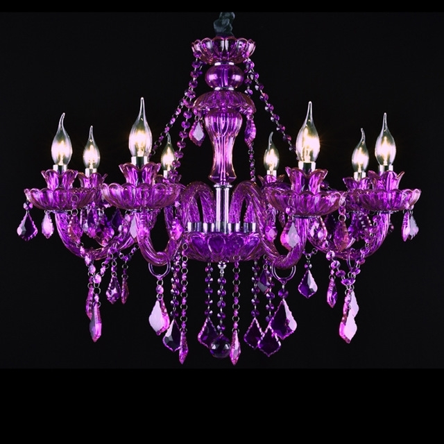 Latest Villa Bedroom Luxury Chandelier 8 Lights Purple Crystal Chandelier Pertaining To Purple Crystal Chandelier Lighting (View 8 of 10)