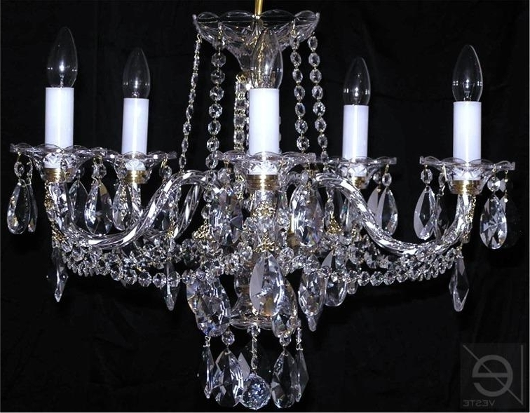 Lead Crystal Chandeliers With Regard To Best And Newest Czech Crystal Chandelier 5 Arms Lead Crystal Glass , Www (View 5 of 10)