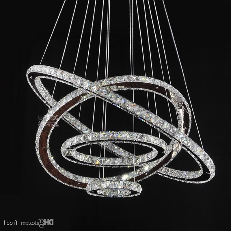 Led Chandeliers Crystal Round Rings Lighting Fixtures Modern Silver Throughout Most Recently Released Modern Silver Chandelier (View 6 of 10)