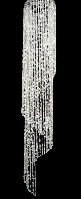 Long Hanging Chandeliers For Well Known Super Sized Beaded Spiral Chandelier 6Ft Long, Wedding Decor Direct (View 8 of 10)