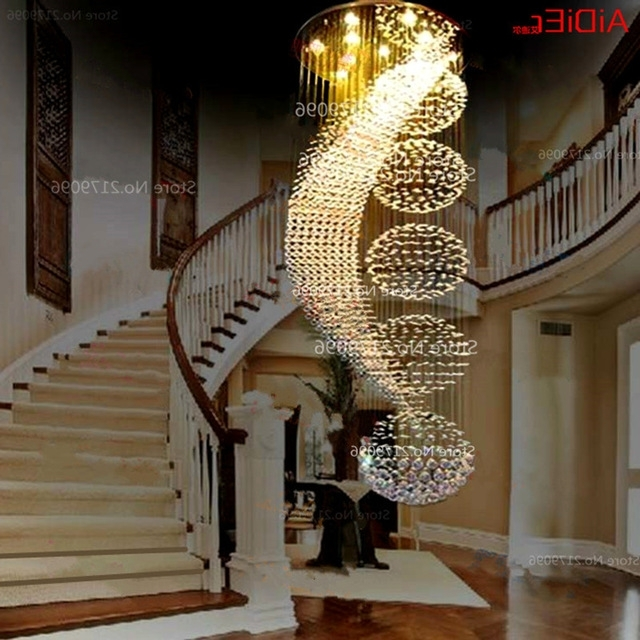 Long Modern Chandelier For 2018 Long Double Staircase Modern Chandelier Lamp Led Crystal Llights (View 5 of 10)