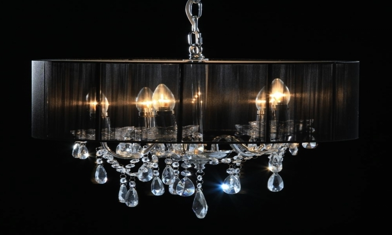 Lucinda Branch Chandelier For Famous Chrome 5 Branch Chandelier With Black Shade Lucinda Branch (View 5 of 10)