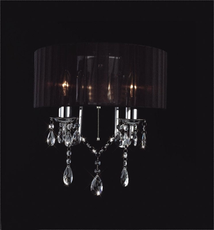 Madmoiselle Black Shaded Crystal Wall Light With Regard To Well Known Black Chandelier Wall Lights (View 7 of 10)