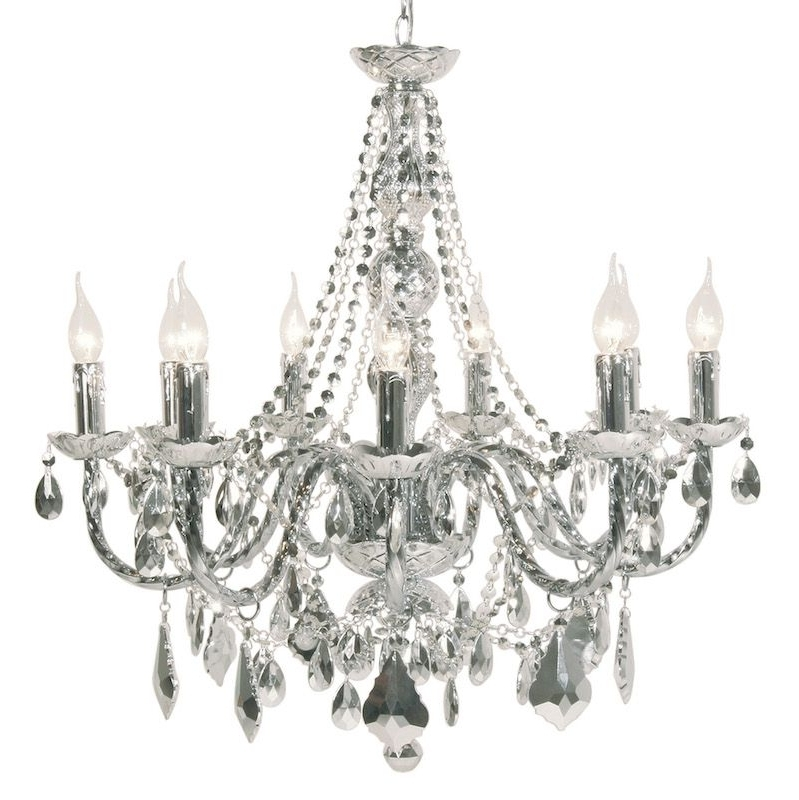 Mariah 9 Arm Silver Chrome Chandelier With Widely Used Chrome Chandelier (View 10 of 10)