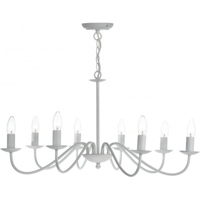 Matt White Chandelier In Simple Flemish Styling With 8 Candle Lights Throughout Latest White Chandelier (View 7 of 10)