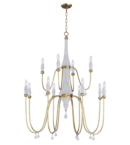 Maxim 22438Cstgl Claymore 12 Light 40 Inch Claystone And Gold Leaf Regarding 2018 Gold Leaf Chandelier (View 7 of 10)