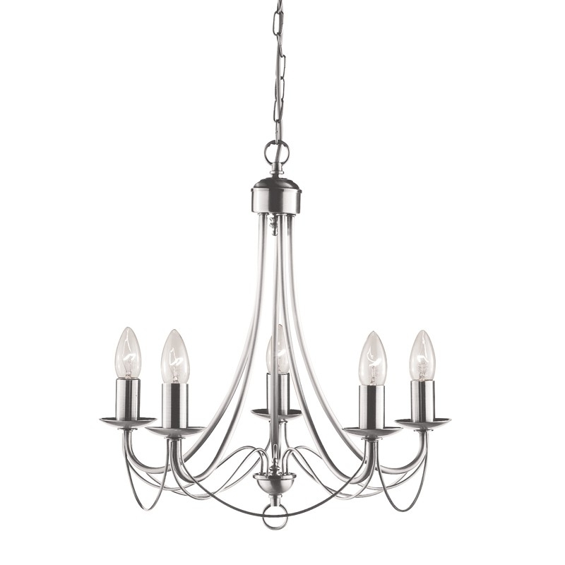 Maypole 5 Light Chandelier – Satin Silver – Lighting Direct With Regard To Famous Silver Chandeliers (View 6 of 10)