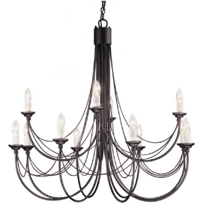 Medieval Gothic Chandelier In Black Finish With 12 Candle Style Lights For Most Recently Released Black Gothic Chandelier (View 7 of 10)