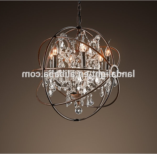 Metal Ball Chandeliers With Most Popular Rh Retro Metal Ball Crystal Chandelier Lighting – Buy Rh Chandelier (View 6 of 10)