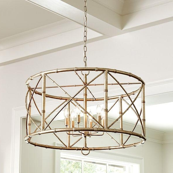 Metal Drum Chandeliers Pertaining To Most Recent 6 Light Gold Drum Chandelier (View 5 of 10)