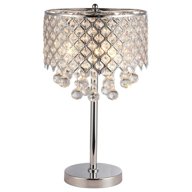 Mini Chandelier Table Lamps With Regard To Latest Chrome Round Crystal Chandelier Bedroom Nightstand Table Lamp  (View 7 of 10)