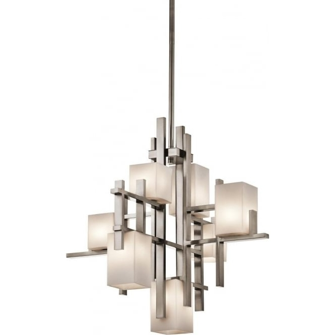 Modern Art Deco Chandelier, Pewter Criss Cross Bars, Opal Glass Shades In Widely Used Art Deco Chandelier (View 8 of 10)
