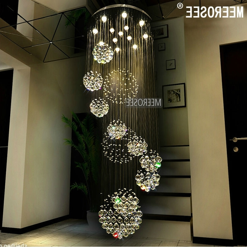 Modern Chandelier Large Crystal Chandelier Light Fixture For Lobby With Regard To Widely Used Long Modern Chandelier (View 8 of 10)