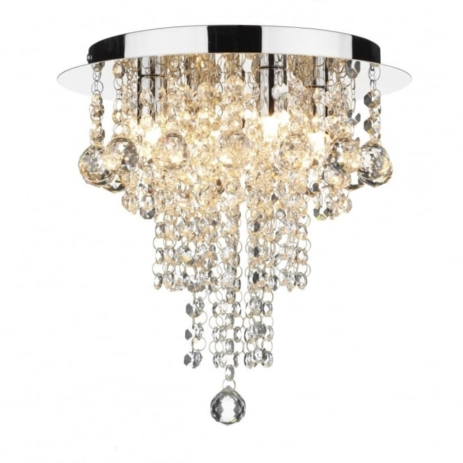 Modern Chandeliers For Low Ceilings With Regard To Most Recently Released Crystal Circular Low Ceiling Light With Cascading Beads & Droplets (View 9 of 10)