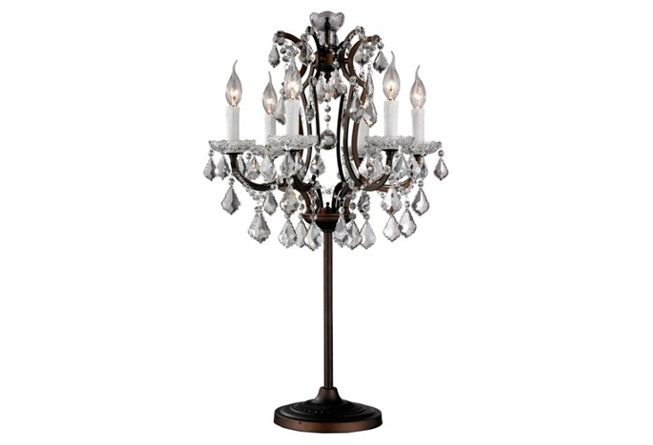 Modern Contemporary Crystal Silver Table Lamp Lamps For Regarding Intended For Widely Used Faux Crystal Chandelier Table Lamps (View 6 of 10)