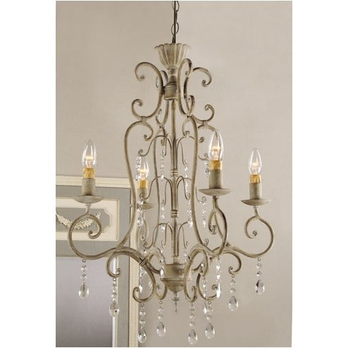 Modern French Country Chandelier In Shabby Vintage Metal Crystal Inside Current Vintage French Chandeliers (View 7 of 10)