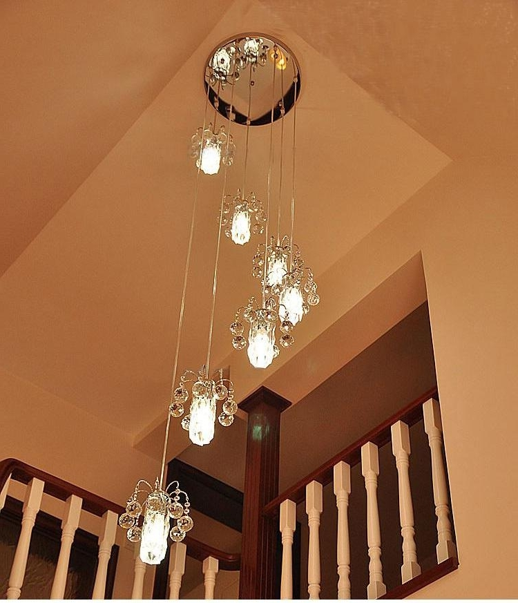 Modern K9 Crystal Staircase Lights Chandelier Crystal Lamp Double Inside Best And Newest Staircase Chandeliers (View 5 of 10)